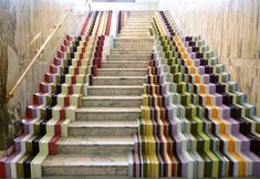 stair installation leading into the victoria & albert museum in london by stuart haygarth - constructed with peices of 100 different picture frames.