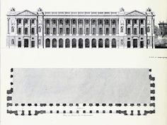 Hôtel de Crillon, Place de la Concorde, Paris, elevation and facade plan. Architecture Drawings, Classical Architecture, Architecture Plan, Architecture Details, Interior Architecture, Interior And Exterior, Crillon Paris, Concorde, Plan Hotel