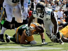 : T.J. Yeldon #24 of the Jacksonville Jaguars scores a touchdown during a game against the Green Bay Packers at EverBank Field on September 11, 2016 in Jacksonville, Florida. (Photo by Sam Greenwood/G