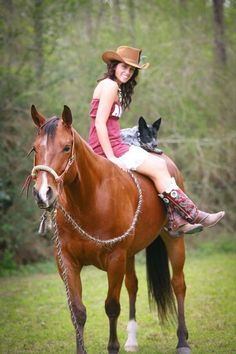 With the dog too! Only wish I could pick my dog up to put on my horse