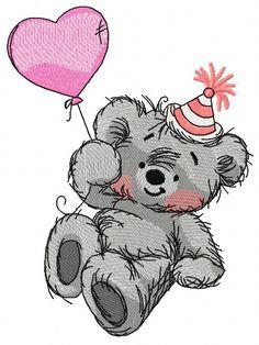 Bear's birthday 3 machine embroidery design. Machine embroidery design. www.embroideres.com