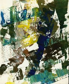 in blue, yellow and brown, mid Framed (ref: with studio stamp on reverse Hard Edge Painting, Action Painting, Abstract Expressionism, Abstract Art, Post Painterly Abstraction, Francis Picabia, Willem De Kooning, Piet Mondrian, Painter Artist