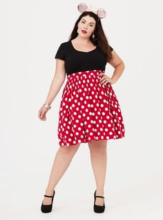"Flattering and awfully sweet, a soft knit Minnie Mouse dress makes a statement that you can dress up or down. V-neck Short sleeves Banded waist Side pockets Unlined CONTENT + CARE Cotton/spandex/polyester Wash cold, dry low Imported plus size dresses SIZE + FIT Model is 5'9"", size 1 Size 2 measures 40"" from shoulder"