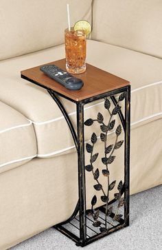 MyHousePlanShop: 15 Classy Wrought Iron Railing Interior Design Ideas to Improve Your Home MyHousePlanShop: 15 Classy Wrought Iron Railing Interior Design Ideas to Improve Your Home Couch Table, Sofa Side Table, End Tables, Sofa Tables, Ikea, Kitchen Decor Themes, Home Decor, Geometric Tiles, Wooden Tops