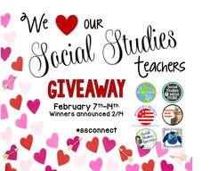 Announcing the #weloveourssteachers Giveaway!! Up to 6 amazing chances to win!   My giveaway includes a •$25• #TPT gift card and a lesson of your choice (valued at $5.00) from my TpT store!   •3• EASY steps to enter and WIN! •1• Follow me on #TpT {my link is below}   •2• Leave a comment answering: How long have you been teaching?   •3• tag a friend who'll like this giveaway.   We will announce our winners on Sunday night, February 14th (Valentine's Day).  Each of us will choose one winner.