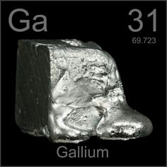 Gallium used in the Solar Industry and LED´s.  Did you know that Gallium will melt in your hand?