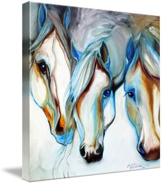 """ WILD HORSES in ABSTRACT"" by Marcia Baldwin, Shreveport, Louisiana // Horses are a favorite subject of Marcia Baldwin, Artist. Here the equine figures are painted in oils in an abstract composition, with blues, browns, creams and white. The original has already SOLD, but please enjoy the fine art prints available here on Imagekind. Thank you ! // Imagekind.com -- Buy stunning fine art prints, framed prints and canvas prints directly from independent working artists and photographers."