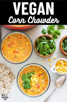 This delicious and creamy Vegan Corn Chowder Recipe is super easy to make and naturally gluten-free. Thickened with potato and natural corn starch and made creamy with coconut milk, this dairy free corn chowder is tasty and healthy. #vegan #soup #recipe #chowder #corn #cornchowder #vegetarian Vegetarian Comfort Food, Tasty Vegetarian Recipes, Vegan Soups, Healthy Recipes, Breakfast Recipes, Dinner Recipes, Dinner Ideas, Vegan Corn Chowder, Freezer Friendly Meals