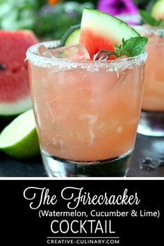 Not just for the of July; The Firecracker is fantastic all summer long with Watermelon, Lime and Cucumber! via Not just for the of July; The Firecracker is fantastic all summer long with Watermelon, Lime and Cucumber! Cucumber Vodka Drinks, Watermelon Cocktail, Vodka Cocktails, Cocktail Drinks, Fun Drinks, Cocktail Recipes, Drink Recipes, Watermelon Slices, Drinks With Watermelon Vodka