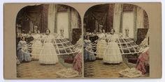 Coloured stereocard depicting a woman being dressed in a crinoline, by an unknown photographer