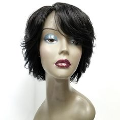 - Human Hair in jet black. - Side part with swoop bang. - Very fashionable layered feather look all sides and back. - Just use your fingers to keep the feather shape. Black Girls Hairstyles, Cute Hairstyles, 100 Human Hair, Human Hair Wigs, Short Bob Styles, Short Cuts, Quick Weave Styles, Swoop Bangs, Feathered Bob