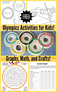 Olympics Activities for Kids- fun ways to learn about the Olympics games, while practicing skills like reading, math, and logic. Olympics Kids Activities, Olympic Games For Kids, Kids Olympics, Sports Activities For Kids, Summer Camp Activities, Stem Activities, Summer Olympics, Olympic Idea, 2020 Olympics