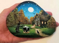 Hand Painted River Rock Halloween By Artist M.Murray-Walkup. darque*fairies on eBay
