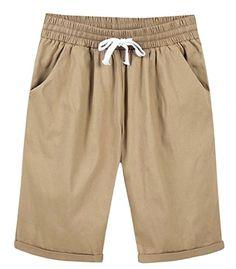 ea64a385690 WSPLYSPJY-women clothes WSPLYSPJY Women s Drawstring Waist Mid-Thigh Length  Linen Style Shorts