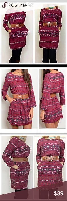 """Belted Wine Tunic Dress Top SML Prettiest tribal belted tunic dress ever❣️Can't get much cuter than this elastic waisted, belted tribal print dress in wine, ivory, blue, green & yellow. Wear with or without leggings or tights. 100% soft rayon  Small Bust 32-34 Length 33"""" Medium Bust 36-38 Length 34"""" Large Bust 38-40 Length 34.5"""" Tops Tunics"""