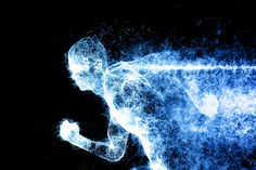 Illustration of a Digital Runner forming from particles Size: x x at Format: PSD / JPG 1 x PSD and 3 x JPG (blue on black, fire Business Newsletter Templates, Gradient Color, Digital, Illustration, Black, Black People, Illustrations