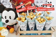 You need to see the party ideas in this Vintage Mickey Mouse Themed Birthday Party at Kara's Party Ideas. Birthday Popcorn, Mickey Mouse Birthday Theme, Mickey Mouse Party Decorations, Vintage Party Decorations, Mickey Party, Birthday Party Themes, Birthday Images, Baby Birthday, Birthday Quotes