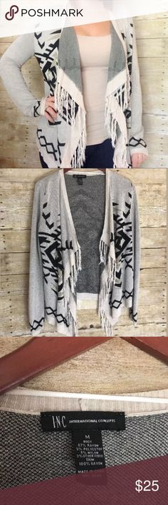 INC Aztec Fringe Open Cardigan SZ M Super cute Open Cardigan sweater by INC International Concepts with waterfall and fringe detail. Aztec pattern in Tan, black and Metallic gold. INC International Concepts Sweaters Cardigans