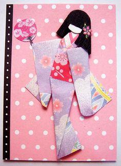 ATC868 - Geisha on a stroll   ATC with hand-made Japanese pa…   Flickr