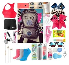 """""""What's in my cheer bag"""" by crescent-8262 ❤ liked on Polyvore featuring NIKE, Contigo, Wildfox, Eos and Wrigley's"""