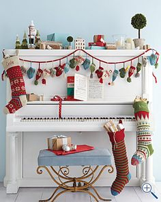 Using a piano as a focal point. Perfect fireplace-free alternative to a mantel!