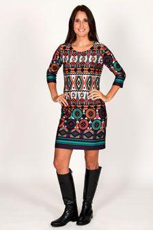 ORDERED - Julia 3/4 Sleeve Crew Neck Shift Dress - Tribal Circles