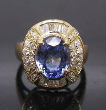SOLID 14K YELLOW GOLD VIOLET BLUE TANZANITE ENGAGEMENT DIAMOND RING NICE BOX
