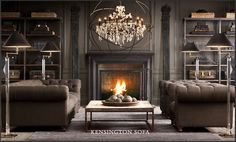 Restoration Hardware room: Amazing large sphere Chandelier, cozy fireplace and low-profile tufted sofas.