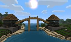A Bridge I built on my friends Minecraft server. (I haven't finished the interior yet though) Made in Minecraft Beta Minecraft created by Notch an. Minecraft Houses Survival, Minecraft Houses Blueprints, Minecraft Crafts, House Blueprints, Minecraft Buildings, Minecraft Architecture, Minecraft Dome, Minecraft Designs, Minecraft Creations