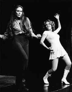 Madeline Kahn and Mary Woronov on stage in Boom Boom Room at Lincoln Center part of the New York Shakespeare Festival, 1973