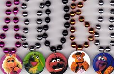 Muppets Inspired Birthday Party Favor Necklace- Set of 6- Pick the Same or Mix Images. $12.00, via Etsy.