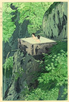 Shirahone Hotspring, Shinshu  by Shiro Kasamatsu, 1935   (published by Watanabe Shozaburo)