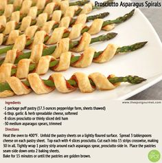 Prosciutto Asparagus Spirals are a perfect wedding appetizer with fluffy, crisp crust and hidden prosciutto inside. After all, how can anything go wrong with prosciutto?    They're also pretty fun to eat — like a chicken skewer but without the leftover stick you never know what to do with!     #WeddingWednesday