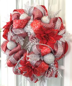deco mesh wreath red silver metallic glamor rope ornaments lots of glam winter - Red And Silver Christmas Decorations
