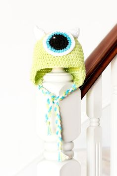 "Monsters Inc. Mike Wazowski Inspired Baby Hat Crochet Pattern Whenever I see the name ""Mike Wazowski"" I always read it in Boo's adorable voi..."