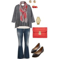 """Movie Night- Plus Size Outfit"" great casual outfit with jeans, flats, clutch scarf, etc. in shades of coral and gray"