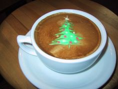 A very festive holiday latte! Happy Holidays from the Foam Art, Coffee Latte Art, Coffee Blog, I Love Coffee, My Coffee, Coffee Break, Coffee Time, Cappuccino Art, Tea Time, Christmas Coffee
