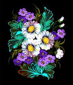 Beautiful flower retro vector graphics 01