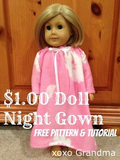 The Dollar Store Doll Clothes Patterns shows you how to turn a piece of fleece or dollar store fleece blanket into a nightgown for an American Girl Doll. Your daughter or granddaughter is going to love this idea. Sewing Doll Clothes, American Doll Clothes, Baby Doll Clothes, Sewing Dolls, Barbie Clothes, Diy Clothes, Doll Sewing Patterns, Doll Clothes Patterns, Barbie Patterns