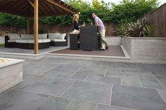 Buy Fairstone Slate Casarta Garden Paving Slabs from Turnbull, a stylish oversized garden slate paving available in 2 colours. Free UK delivery on 4 packs or Garden Slabs, Slate Garden, Patio Slabs, Patio Tiles, Garden Paving, Outdoor Tiles, Garden Tiles, Slate Pavers, Slate Patio