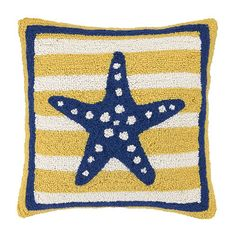 "Blue & Yellow - Sea Star Hook Pillow  $52 16"" x 16""; Hooked 100% WOOL ON FRONT W/COTTON VELVET BACKING; Polyester filler; Hidden zipper; Spot clean recommended"