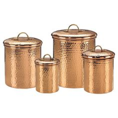 The Old Dutch Decor Copper Hammered Canister Set comes with copper-plated steel for perfect countertop storage solution. This features fresh seal cover technology to keep the stored items fresh and safe. Copper Canisters, Food Canisters, Kitchen Canister Sets, Storage Canisters, Kitchenware, Copper Utensils, Tableware, Glass Canisters, Serveware