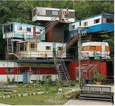 I'm reading Ready Player One right now and in it there is a description of a trailer park that is all stacked up like this (except higher and a lot trashier looking).  Had no idea people actually do stack trailers