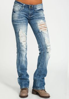 Distressed Light Wash Bootcut Jeans - Love Culture