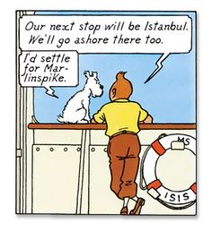 'Around the Globe: Europe' pinned from the Internet • Tintin and Snowy on board a ship • Tintin, Herge j'aime