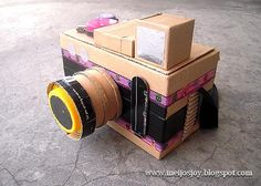 MeiJo's JOY: Jojo and her 'shapes' assignment! Cardboard Camera, Cardboard Toys, Paper Toys, Paper Craft, Cute Crafts, Creative Crafts, Easy Crafts, Diy For Kids, Crafts For Kids