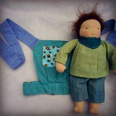 handmade reversible waldorf doll/ baby doll / teddy sling