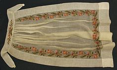 1830–50, wool(embroidery?) & cotton (apron?)