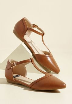 Turn Back Prime Vegan Flat in Caramel - Yellow, Solid, Buckles, Work, Casual, Winter, Flat, Faux Suede, Good, T-Strap