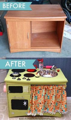Upcycle: From End Table to Kid's Play Kitchen What a great gift for small children. You can get the knobs from Home Depot for 5$, Use a metal dog dish for the sink.... what are your ideas to make this even better? http://homesteadsurvival.blogspot.com/2012/07/upcycle-from-old-furniture-to-kids-play.html